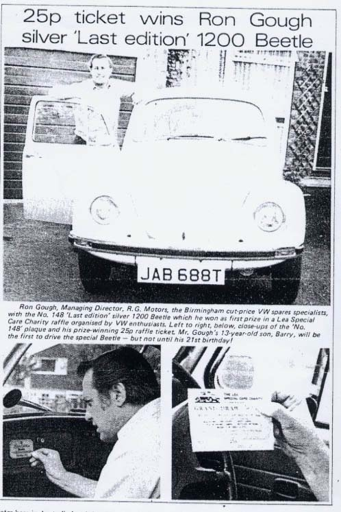 LEB Number 148 - Article about the raffle, from 'Safer Motoring', October 1978