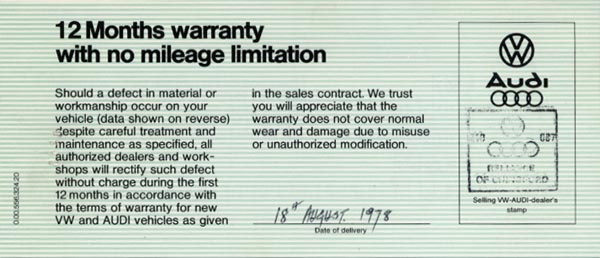 Manufacturer's warranty - Page 1