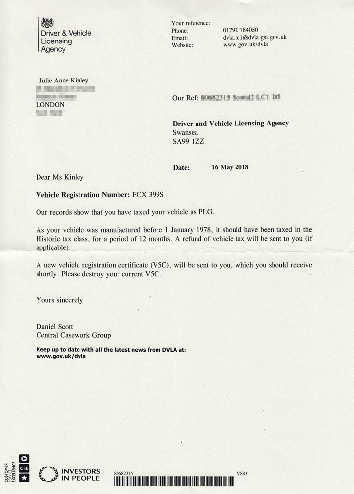 Letter from DVLA confirming change from PLG to Historic tax class